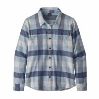 Patagonia Women's Long-Sleeved Fjord Flannel Shirt Medium Up River: Wooly Blue