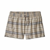 "Patagonia Women's Island Hemp Baggies Shorts - 3"" X-Small Tarkine Stripe Small: Marrow Grey"