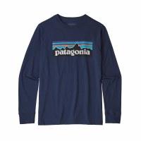 Patagonia Boys' Long-Sleeved Graphic Organic T-Shirt Small P-6 Logo Classic Navy