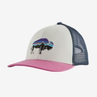 Patagonia Kids Trucker Hat One Size Fitz Roy Bisson: White w/Marble Pink