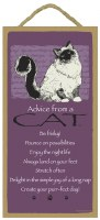 "SJT Enterprises Advise From A Cat Sign 5""x10"""
