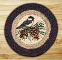 "Capitol Earth Rugs Chickadee Round Printed Swatch 10"" x 10"""
