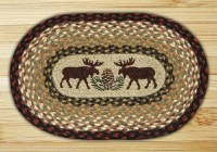 "Capitol Earth Rugs Moose/Pinecone Oval Printed Swatch 10"" x 15"""
