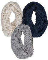 Broner Ladies Grey Popcorn Knit Infinity Scarf OSFA Grey