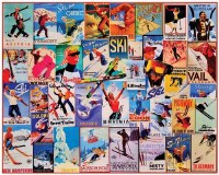 White Mountain Puzzles Vintage Ski Posters Puzzle 1000 Pieces