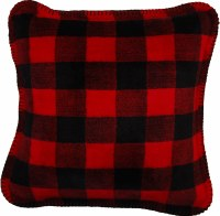 "Denali Large Bunk House Plaid Microplush Pillow 18""x18"" Black"