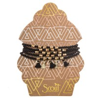 Scout Currated Wears Metallic Tassel Wrap MTW  Black/Gold