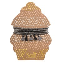 Scout Currated Wears Metallic Tassel Wrap MTW  Gunmetal/Silver