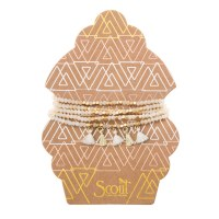 Scout Currated Wears Metallic Tassel Wrap MTW  Ivory/Gold