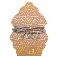 Scout Currated Wears Metallic Tassel Wrap MTW  Taupe/Rose Gold
