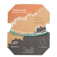 Scout Currated Wears Delicate Stone Wrap Bracelet/Necklace SDW Turquoise/Silver