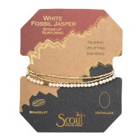 Scout Currated Wears Delicate Stone Wrap Bracelet/Necklace SDW White Fossil/Gold