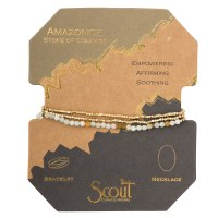 Scout Currated Wears Delicate Stone Wrap Bracelet/Necklace SDW Amazonite/Gold