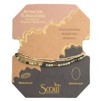Scout Currated Wears Delicate Stone Wrap Bracelet/Necklace SDW African Turquoise/Gold