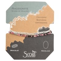 Scout Currated Wears Delicate Stone Wrap Bracelet/Necklace SDW Rhodonite/Silver