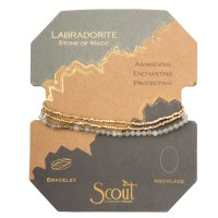 Scout Currated Wears Delicate Stone Wrap Bracelet/Necklace SDW Labradorite/Gold