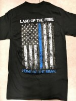 Pacific Art Land of the Free Police T-Shirt Small Black