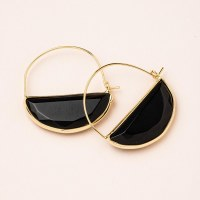 Scout Currated Wears Stone Prism Hoop Earring STONE PRISM HOOP  Black Spinel/Gold