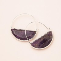 Scout Currated Wears Stone Prism Hoop Earring STONE PRISM HOOP  Amythyst/Silver