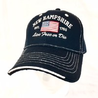 Royal Resortwear New Hampshire Live Free Or Die USA Flag Ball Cap One Size Navy