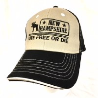 Royal Resortwear New Hampshire Live Free Or Die Ball Cap One Size Black/Khaki