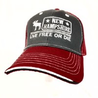 Royal Resortwear New Hampshire Live Free Or Die Ball Cap One Size Charcoal/Red