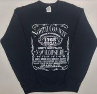 Luba Designs History North Conway, NH Crewneck Sweatshirt L Black