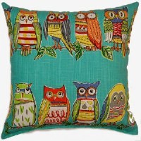 Creative Home Furnishings Hoot Pillow 17x17 Opal