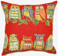 Creative Home Furnishings Hoot Pillow 17x17 Red