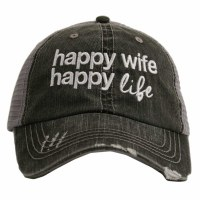KATYDID Happy Wife Happy Life Trucker Hat One Size Grey