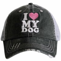 KATYDID I Love My Dog Trucker Hat One Size Grey