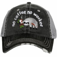 KATYDID No Coffee No Workee Sloth Trucker Hat One Size Grey