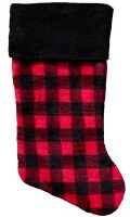 "Denali Buffalo Check Plush Stocking 8.5"" x 19"" Black"