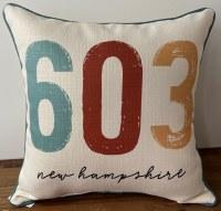 Little Birdie New Hampshire 603 Area Code Pillow 17x17