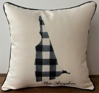 Little Birdie New Hampshire Black & White Plaid Pillow 17x17