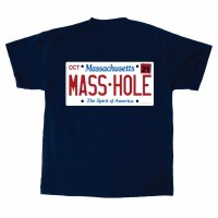 Sully's Tees Masshole License Plate T-Shirt Small Navy
