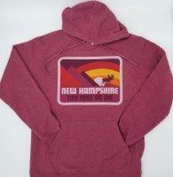 Woods & Sea New Hampshire Moose & Mountain Hoodie Small Red
