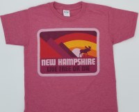 Woods & Sea New Hampshire Moose & Mountain Youth Tee Medium Red
