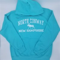 Luba Designs North Conway, New Hampshire Moose Hoodie Large Scuba