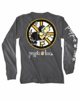 Puppie Love Hockey Pup Adult L/S Tee S Charcoal