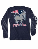 Puppie Love Mascot Pup Adult L/S Tee S Navy