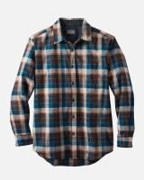 Pendleton Lodge Shirt Large Brown/Marine Blue Check