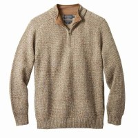 Pendleton Shetland Half Zip Cardigan 2XL Light Brown Mix