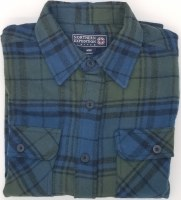 Northern Expedition Outback Brawney Flannel Shirt Medium Blue/Green Plaid