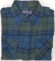 Northern Expedition Outback Brawney Flannel Shirt Medium Blue/Green Plaid