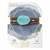 Scout Currated Wears Suede & Stone Wrap Bracelet/Necklace SUEDE/STN WRAP Turquoise/Gold