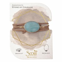 Scout Currated Wears Suede & Stone Wrap Bracelet/Necklace SUEDE/STN WRAP Amazonite/Gold