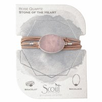 Scout Currated Wears Suede & Stone Wrap Bracelet/Necklace SUEDE/STN WRAP Rose Quartz/Silver
