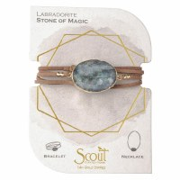 Scout Currated Wears Suede & Stone Wrap Bracelet/Necklace SUEDE/STN WRAP Labradorite/Gold