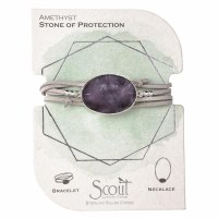 Scout Currated Wears Suede & Stone Wrap Bracelet/Necklace SUEDE/STN WRAP Amethyst/Silver